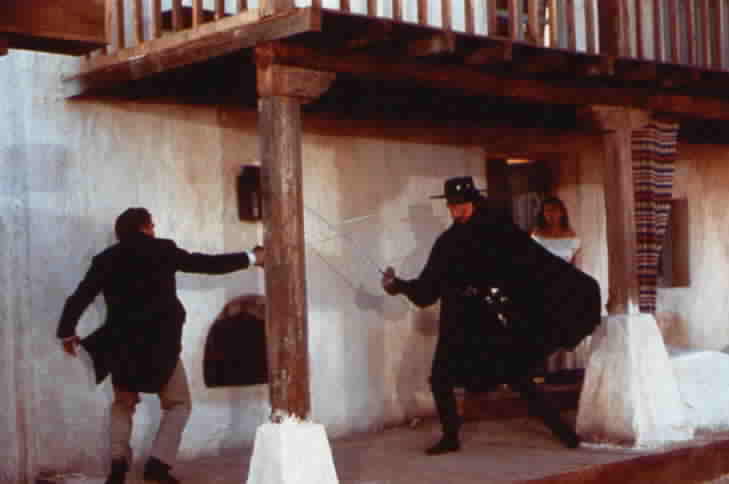 Zorro fighting an adversary