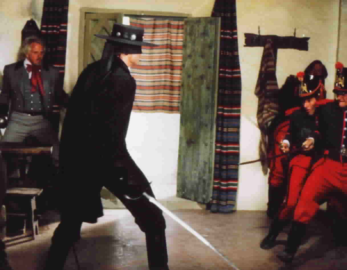 Duncan Regehr as Zorro, fighting off the soldiers in the tavern