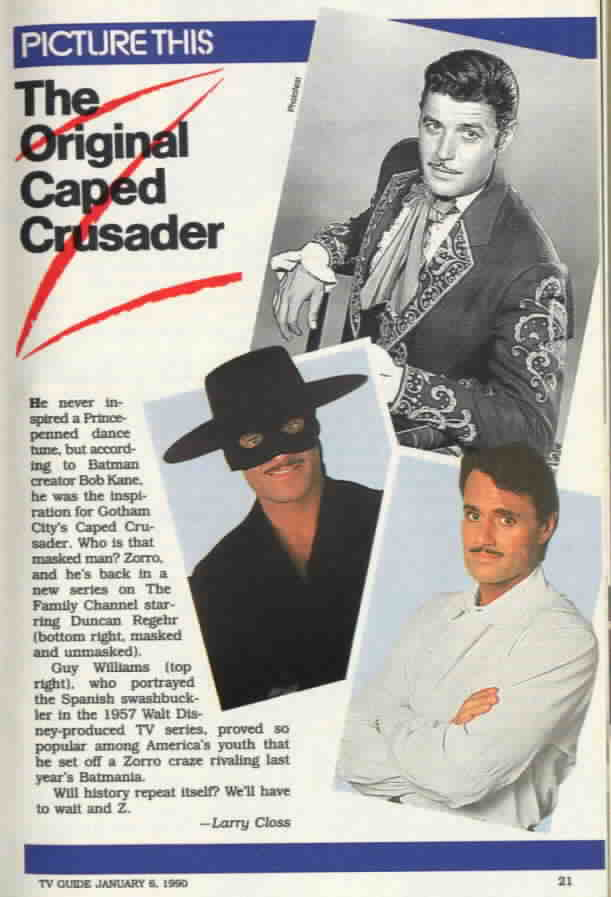 Zorro article in TV Guide